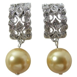 Fashion Jewelry For Everyone Erfect Bridal Earrings Yellow Pearl Rhinestones