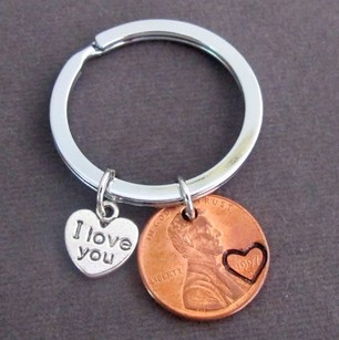 Fashion Jewelry For Everyone I Love You Penny Keychain Couples Keychain Lucky Copper Penny Anniversary Gift Husband Wife Key Chain His Hers