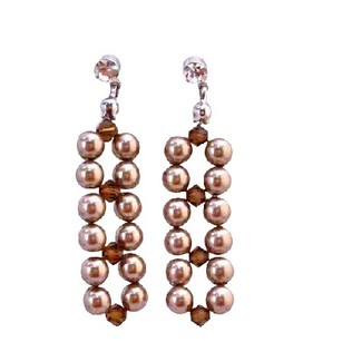 Fashion Jewelry For Everyone Interwoven Swarovski Bronze Pearls Smoked Topaz Crystals Post Earrings