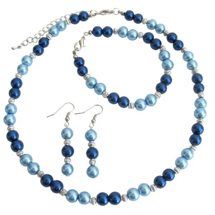 Fashion Jewelry For Everyone Lite Blue Dark Blue Pearl Jewelry Set With Silver Spacer Gorgeous Complete Wedding Set