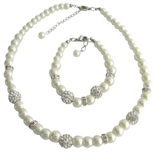 Fashion Jewelry For Everyone Pearl Necklace Bracelet Pave Ball Rhinestones Jewelry Ivory Pearl Set