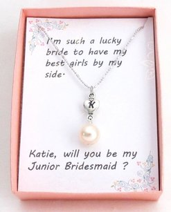 Fashion Jewelry For Everyone Personalized Pearl Necklace Initial Pearl Necklace Personalized Heart Charm Bridesmaid Necklace Junior Bridesmaid
