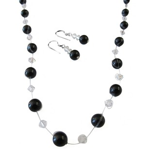 Fashion Jewelry For Everyone Platinum Champagne Pearls Golden Shadow Crystals Necklace Jewelry Set