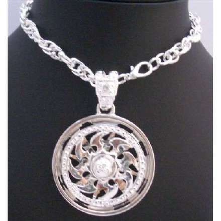 Silver Hip Hop Pendant Spinning Sun Striking Smashing Pendant Necklace Jewelry Set