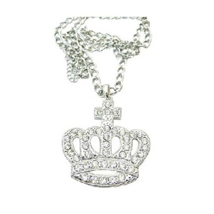 Silver Grey Diamante Hip Hop Crown Pendant Fully Encrusted Embedded Long King Jewelry Set