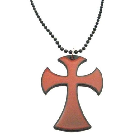 Red Hip Hop Cross Pendant W/ Black Chain Necklace 24 Inches Jewelry Set