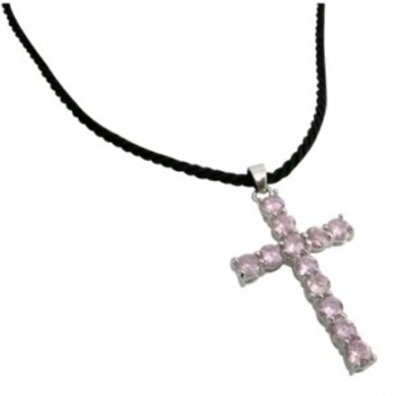 N562 Black Leather Cord Neckalce W/ Pink Crystals Cross Penant