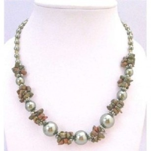 Olivine Pearls W/ Olivine Nugget & Glass Beads Inexpensive Neckalce