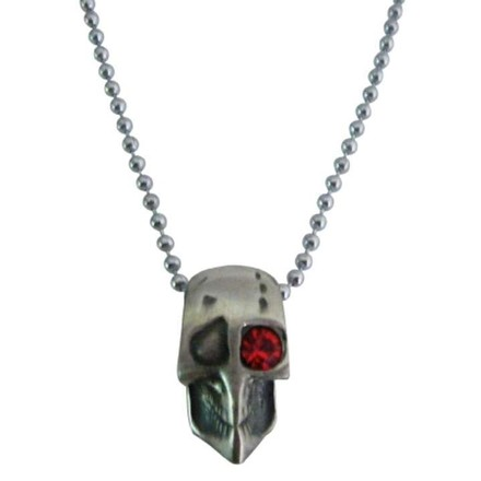 Silver Skull Halloween Necklace One Red Eye Opened Jewelry Set