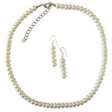 Freshwater Pearls Ivory Color Necklace Set Exclusive Wedding Jewelry