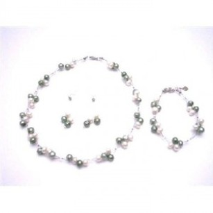 Green Prom Flower Girl Freshwater Pearls Ivory Jewelry Set