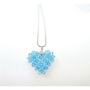 Swarovski Aquamarine Crystals Puffy Heart Pendant Custom Heart Jewelry