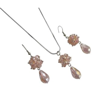 Rose Glass Beaded Ball Cluster Pendant Earrings Wedding Jewelry Set