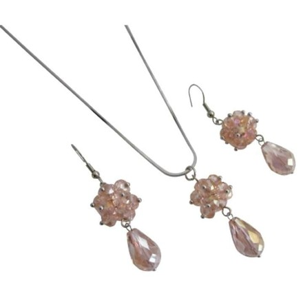 Brown Rose Glass Beaded Ball Cluster Pendant Earrings Jewelry Set