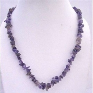 Blue Color Amethyst Nugget Long Necklace 36 Inches Necklace Jewelry Set