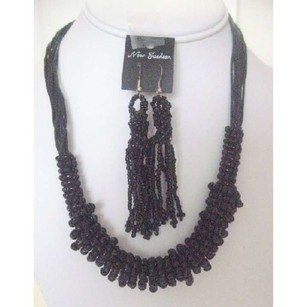 Black Jute Necklace Set Trendy W/ Dangling Earrings