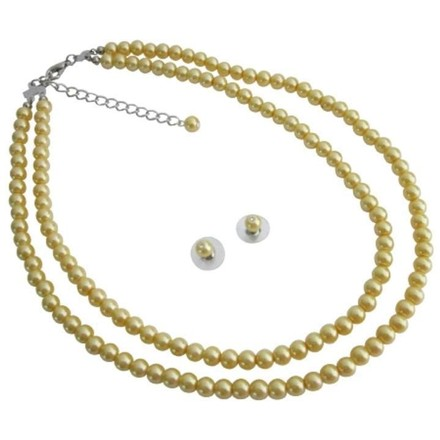 Yellow Customize In Your Length Pearls Jewelry Set
