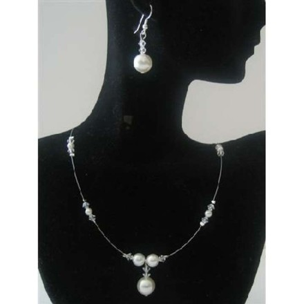 Silver Material Bridesmaid Swarovski Clear Swarovski Crystals White Pearl Jewelry Set