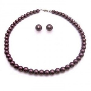 Bridesmaids Jewelry Pearls Bridal Gift Dark Purple Pearls Jewelry