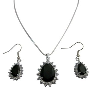 Chic Cool Inexpensive Pendant Earrings Set Onyx Stone Jewelry Set