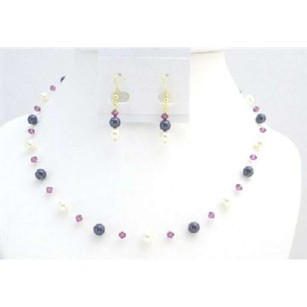 Gold Plated Earrings Dark Purple Ivory Pearls Fuschia Crystals Set