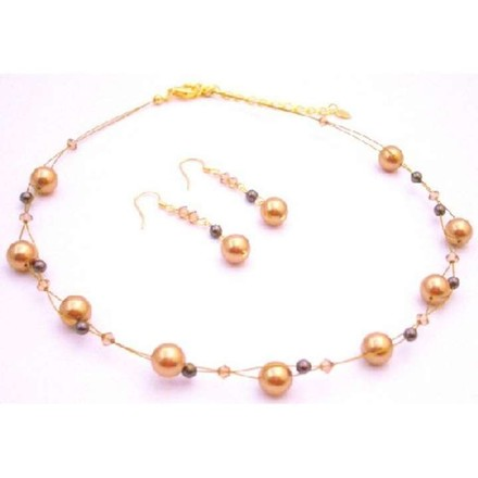 New Year Eve Party Necklace Gold Brown Pearls Lite Colorado Crystals