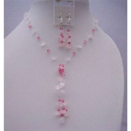 Pink Rose Nugget Handcrafted Necklace Sterling Silver Earrings W/ Tassel Jewelry Set