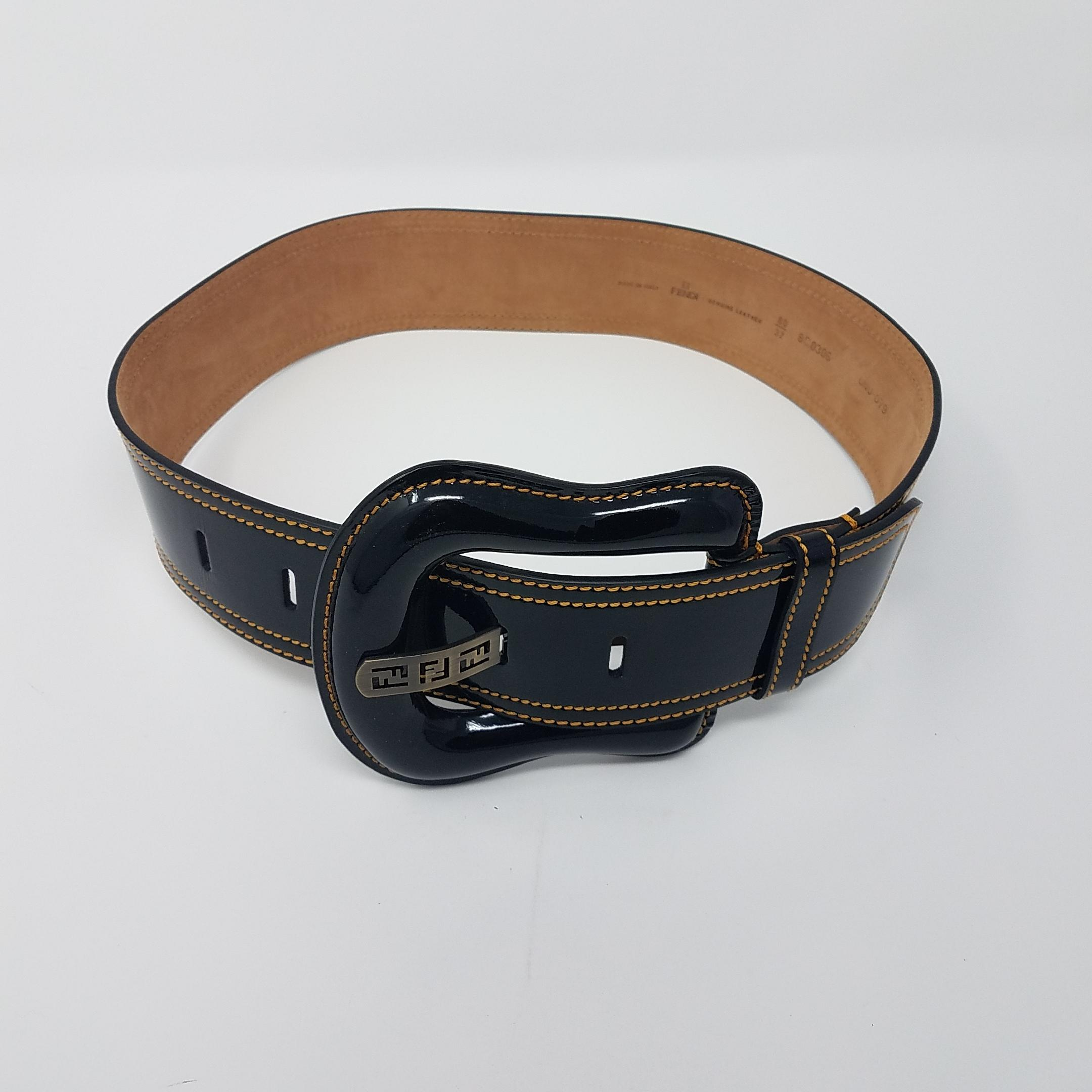 eeb4675dfd9f ... discount code for fendi black patent leather zucca logo wide waist m  belt tradesy 392b6 a096c