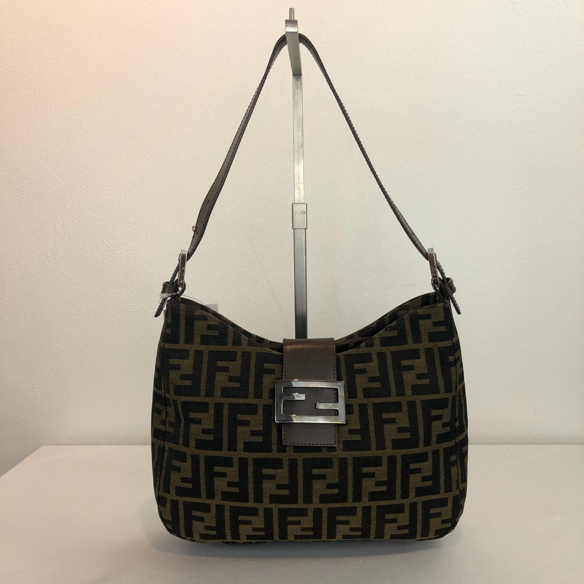 7c00983a527c ... france fendi black zucca ff buckle shoulder brown canvas hobo bag  tradesy 0034f 91e92 ...