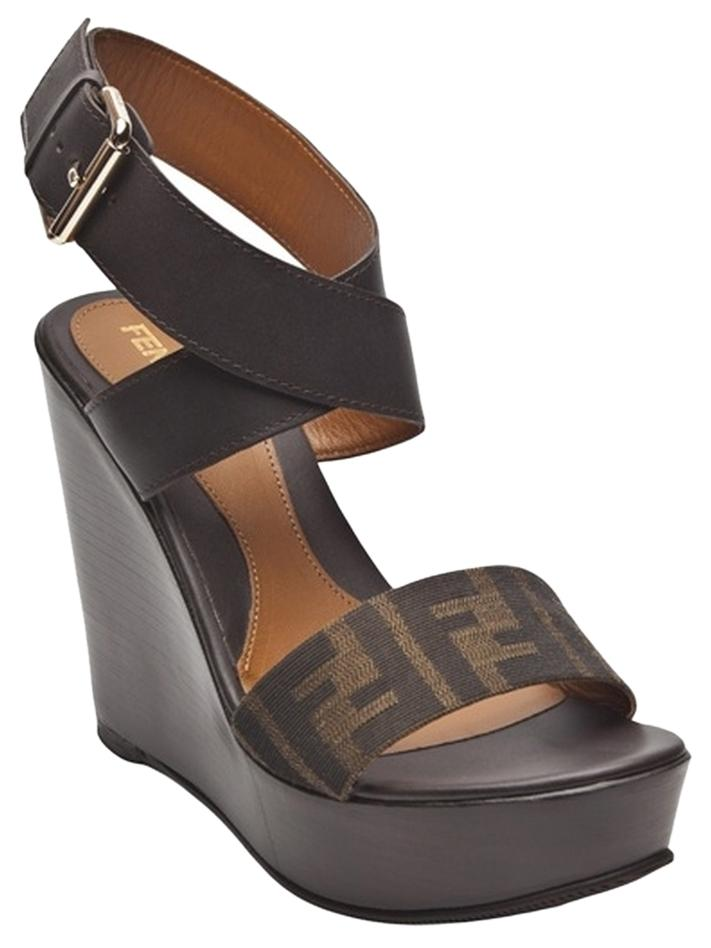 3feb5131b4c7 Fendi Brown Zucca Zucca Zucca Print Wedges Size US 6.5 49dede - gear ...