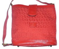 Fendi Canvas Bucket Style Satchel in Red