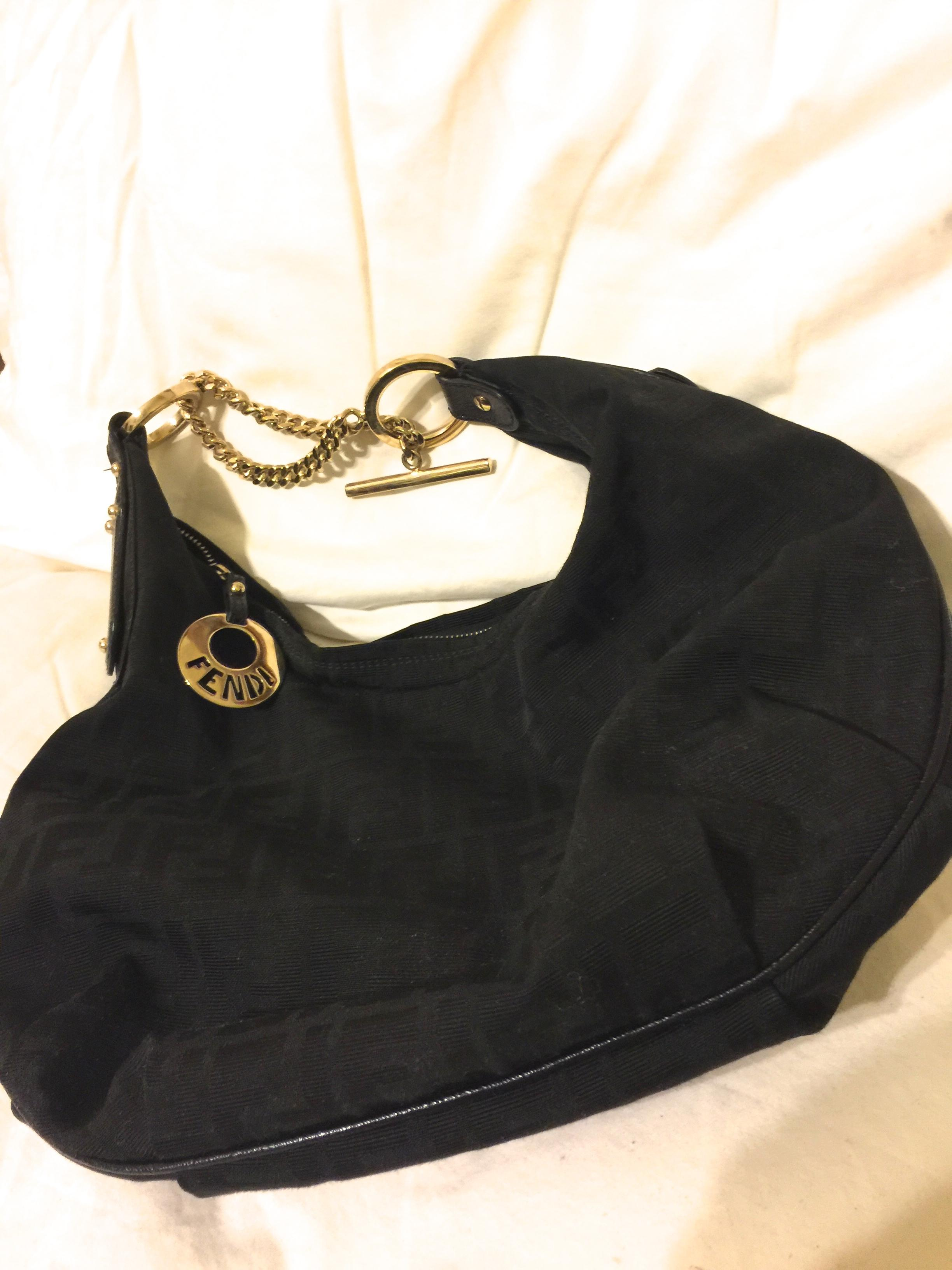 c9414ab635c1 ... coupon for fendi chef chain black black leather trim gold hardware zucca  canvas hobo bag tradesy