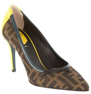 Fendi Zucca Logo Leather Brown Pumps