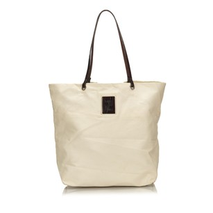 Fendi Cotton Dark Brown Ivory 15bdod077 Tote