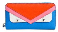 Fendi Fendi Blue Pink Red Saffiano Leather Bad Bugs Continental Wallet