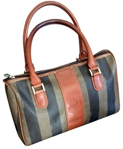 Fendi Pequin Satchel in dark brown stripes