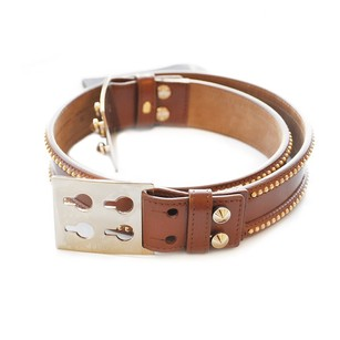 Fendi Studded Brown Leather Belt (Size 85)