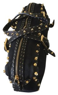 Fendi Studded Rare Denim Gold Satchel in Black