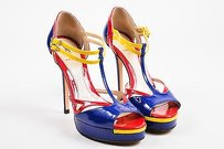 Fendi Blue Red Yellow Patent Multi-Color Sandals
