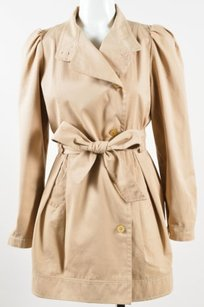 Fendi Tan Khaki Cotton Double Trench Coat