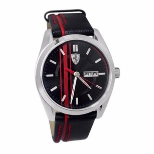 Ferrari Scuderia Ferrari Mens Gtb-c Watch 0870005 Black Leather Band Analog Day Date