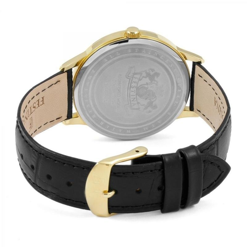 Black F16825-1 Dress Men's Leather Band with Silver Dial ...