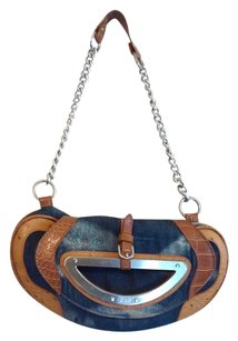 FETISH Wristlet in Stone washed Blue and Camel