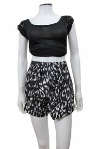 Finders Keepers Anthology Leopard Print High Waist Style Fx150426p Leo Shorts black white