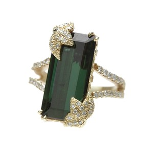 Other Stambolian 18K Yellow Gold Green Tourmaline & Diamond Ring