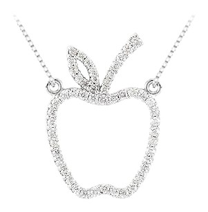 Fine Jewelry Vault 0.50 carat Diamonds Designer inspired Apple Necklace in 14K White Gold