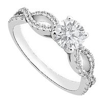 Fine Jewelry Vault 1 Carat Engagement Ring in 14K White Gold CZ of Triple AAA+ Quality