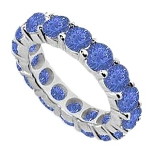 Fine Jewelry Vault 10ct Eternity Bands Sapphire Created Prong Set Sterling Silver
