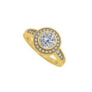Fine Jewelry Vault 1.25 Carat CZ Halo Engagement Ring in 14K Yellow Gold