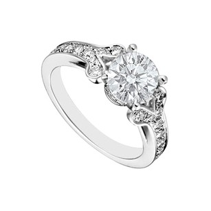 Fine Jewelry Vault 14K White Gold Semi Mount Engagement Ring with 1.00 Carat Diamonds